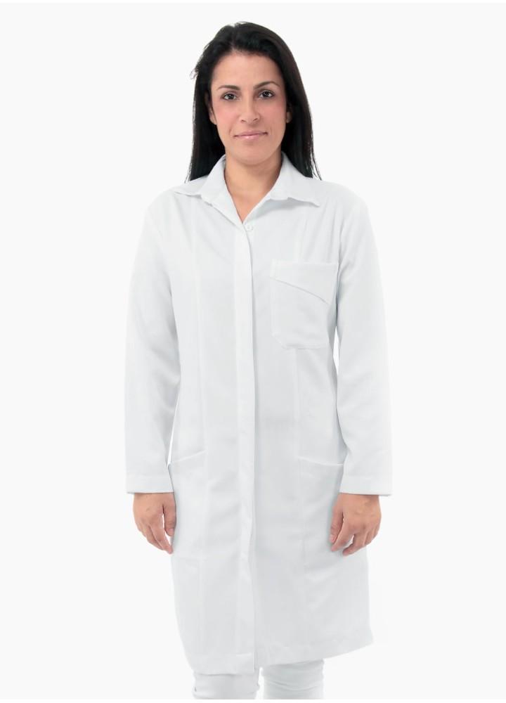 Jaleco Feminino Gola tipo Camisa Gabardine de Microfibra
