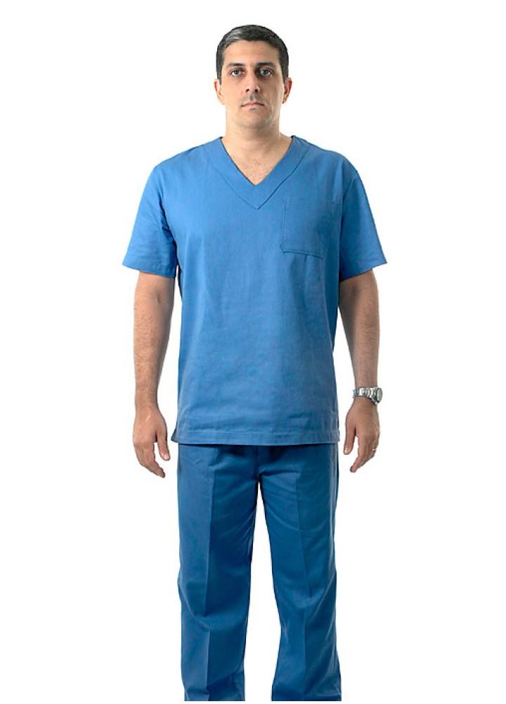 Pijama Cirúrgico Unissex 100% Algodão Azul Manga Curta