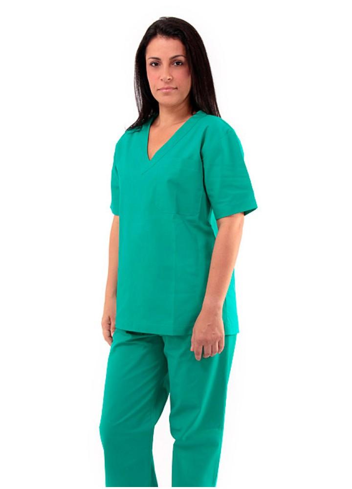 Pijama Cirúrgico Unissex 100% Algodão Verde Manga Curta