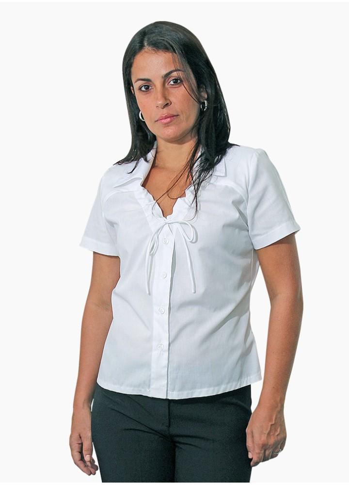 Blusa Feminina com Decote V - Gola e Lacinho